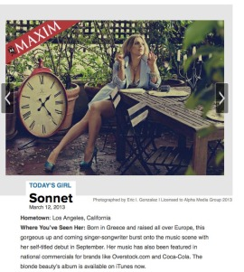 Maxim Magazine Today's Girl - Sonnet Simmons